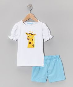 Take a look at this White Giraffe Puff-Sleeve Tee & Shorts - Infant, Toddler & Girls by Monday's Child on #zulily today!