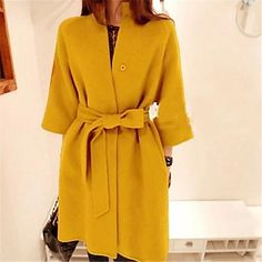 Women's Elegant Solid Color Bow  Wool Coat - USD $ 36.00