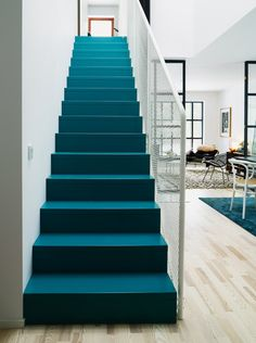 A boldly hued staircase