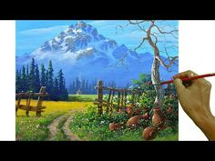 Canvas Painting Tutorials, Acrylic Painting Lessons, Painting Videos, Painting Techniques, Snowy Mountains, Pattern Art, Art Patterns, Learn To Paint, Landscape Paintings