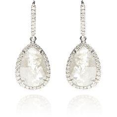 Nina Runsdorf Grey Rough Diamond Drop Earrings (€4.420) ❤ liked on Polyvore featuring jewelry, earrings, grey, 18k diamond earrings, diamond jewellery, gray earrings, diamond earrings and 18k jewelry