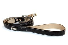 Bluemax Genuine Leather Full Grain Cow Dog Collar with Bone Stud, 1-Inch by 4-Feet, Black >>> Awesome dog product. Click the image : Leashes for dogs