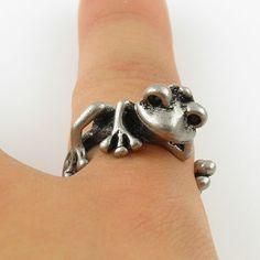 Animal Wrap Ring - Tree Frog - White Bronze - Adjustable Ring - keja jewelry