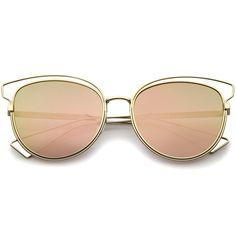 Women's Modern Flat Lens Cat Eye Metal Sunglasses A323