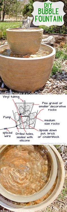 Instructions on how to make this easy Bubble Fountain for your backyard or porch!