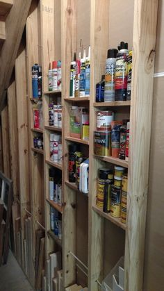 Super Simple Stud Shelves I wanted to utilize the area under my staircase for storage. The wall is sheet rocked on one side but on the other side the studs are exposed. What better way to The post Super Simple Stud Shelves appeared first on Wood Diy. Storage Shed Organization, Garage Storage Racks, Workshop Storage, Basement Storage, Garage Workshop, Built In Storage, Staircase Storage, Storage Room, Storage Ideas For Garage