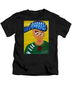 Patrick Francis Designer Kids Black T-Shirt featuring the painting Portrait Of Camille Roulin - After Vincent Van Gogh by Patrick Francis