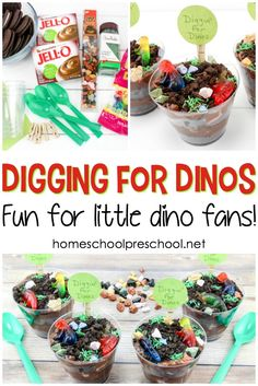 Tasty Dinosaur Food: Digging for Dinosaurs Snack, Let your little ones play with their dinosaur food with this Digging for Dinosaurs pudding snack! Young dinosaur fans will dig it! Dinosaurs Preschool, Preschool Snacks, Preschool Crafts, Kid Crafts, Kindergarten Snacks, Classroom Snacks, Classroom Ideas, Craft Projects, Dinosaur Snacks