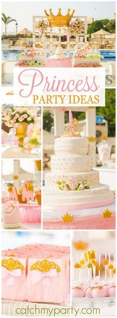 What a pretty pink and gold princess birthday party! See more party ideas at http://CatchMyParty.com!