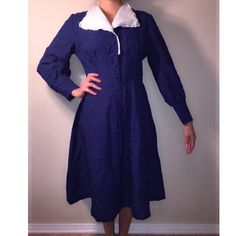 Vintage navy blue, white collared sailor dress Midi 1950's sailor dress. Vintage, navy blue and white collar. Vintage Dresses Midi