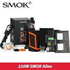 D'origine Smok Alien Kit 220 W Boîte Mod avec 3 ml TFV8 Bébé réservoir vaporisateur e cigarette électronique Vaporisateur Kit Smok AlienMod vs ULTRA