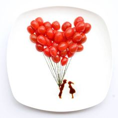 Food Art - Chinese artist 'Red' Hong Yi makes creative works of art with the food on her plate