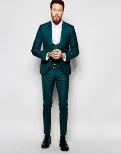 Image 1 of Noose & Monkey Green Suit with Stretch And Shawl Lapel in Super Skinny Fit Asos Bal Smoking, Green Wedding Suit, Wedding Suits, Trendy Wedding, Mens Fashion Suits, Mens Suits, Groom Suits, Groom Attire, Wedding Outfits