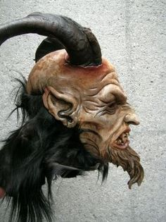 A good number of the Krampus masks for parade are carved from wood. This is gorgeous.