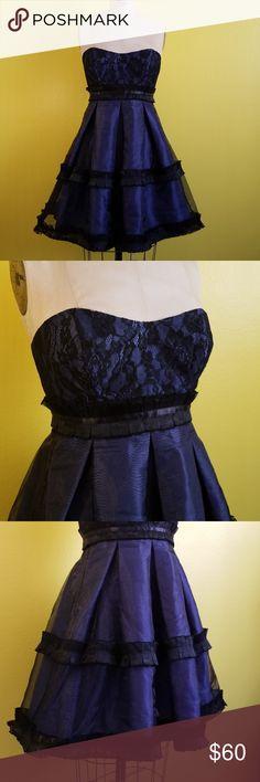 Spotted while shopping on Poshmark: BCBG black lace navy strapless dress sz 6! #poshmark #fashion #shopping #style #BCBGeneration #Dresses & Skirts