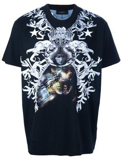Black cotton t-shirt from Givenchy featuring a round neck, short sleeves, a contrasting grey and nude stylized pattern print design to the front.