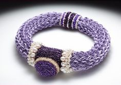 Barbara Stutman - Amethyst & Pearl Delight, for a Maharajah - 2010 - Freshwater pearls, coloured and silver-plated copper wire, vinyl lacing, seedbeads, magnets. Spool knit, crochet.