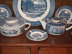 Currier & Ives Dishes- THIS is what my grandma had.  80s memories I'd like to have these :)