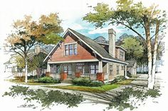 Vignette style perspective renderings provide a softer more informal presentation than their detailed and specific counterparts. Watercolor Architecture, Concept Architecture, Architecture Details, Landscape Architecture, Architecture Sketchbook, Landscape Sketch, Landscape Drawings, Watercolor Landscape, Landscape Design