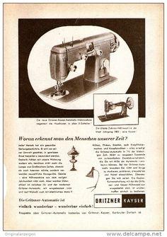Original-Werbung/ Anzeige 1956 - GRITZNER - KAYSER - NÄHMASCHINEN - ca. 120 x 170 mm