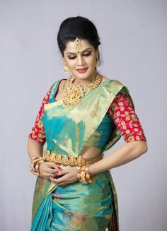 South Indian bride. Gold Indian bridal jewelry.Temple jewelry. Jhumkis. Green silk kanchipuram sari. Braid with fresh jasmine flowers. Tamil bride. Telugu bride. Kannada bride. Hindu bride. Malayalee bride.Kerala bride.South Indian wedding. Pinterest: @deepa8