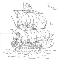 ship embroidery pattern
