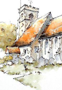 Watercolor Painting Techniques, Watercolor Sketchbook, Watercolor Landscape Paintings, Pen And Watercolor, Landscape Drawings, Watercolor Illustration, Landscape Art, Watercolor Trees, Watercolor Portraits