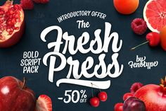 Fresh Press - s a pack of handmade goodness - a visual delight in the form of beautiful and strong script family. $25 #ad #creativemarket