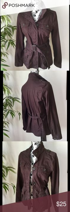 "Belted short trench style jacket Chocolate brown trench style jacket with removable built. Zips and buttons up. Four pockets. Washable 97% cotton 3% spandex. Measurements laying flat: armpit to armpit 19"", length from top of shoulder 25"", jacket length 24"". Very gently loved, excellent condition. Vanity Jackets & Coats"