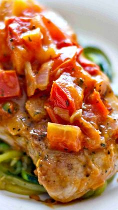 One Pan Tuscan Pork Chops Recipe ~ This tuscan pork is incredibly simple and quick to make, and is delicious