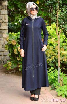 Şükran Keçe Ferace 35572-03 Lacivert Sports Hijab, Long Blouse, Athleisure, Dress Making, High Neck Dress, Style Inspiration, Blazer, Couture, Suits