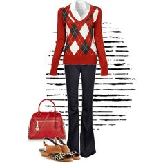 I like the argyle top and jeans, but it is unlikely I'd ever wear shoes or a purse like that.