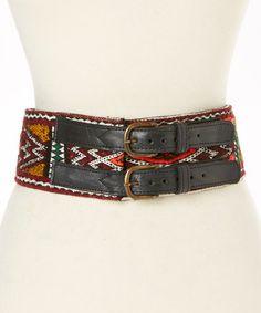 Black Chevron Gwan Leather Belt #zulily #zulilyfinds