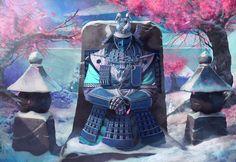 Asian fantasy art - Legend of 5 Rings inspired - Sasageru, Ancestral Armor of the Crane Clan