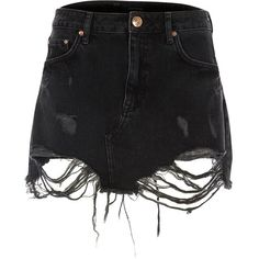 River Island Black ripped lace hem denim skirt ($43) ❤ liked on Polyvore featuring skirts, mini skirts, denim skirt, distressed skirt, tall skirts, denim mini skirt and lacy skirt
