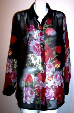 Dressbarn Top 1X Silky Sheer Black Floral Long Sleeve Button Down Shirt Blouse #dressbarn #Blouse #Casual