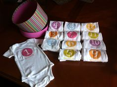 DYI Onesies. These are great for taking monthly photos to document the babies growth and other facial changes.