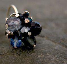 Silver Crystal Cluster Ring Silver Blue Ring by gazellejewelry