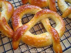 Soft Baked Pretzels - made in bread maker Baked Pretzels, Homemade Soft Pretzels, Snack Recipes, Snacks, Bread Machine Recipes, Yeast Bread, Bread Rolls, Sweet Bread, Doughnuts