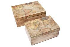 Cajas con imagenes del mapa mundi, de Minimissura.