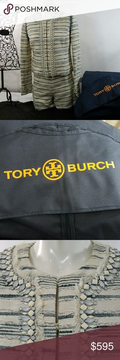 Authentic TORY Burch short suit Nwot comes with Garnett bag, short suit,  shorts have  zipper on one side , this is absolutely stunning classy and very elegant, very detailed great for a summer night, true to size 6, everything about this suit tells a lot about fashion,  great for work or a day of pleasure , and yes the jacket comes with it Tory Burch Shorts Skorts