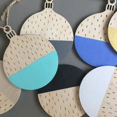 Colour Blocked Wooden Christmas Tree Ornament - Christmas Decorations - Pick Your Colour Modern Christmas, All Things Christmas, White Christmas, Handmade Christmas, Christmas Crafts, Natural Christmas, Wooden Christmas Tree Decorations, Wood Burning Pen, Christen