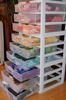 """""""sneaky"""" scrap storage! Ok this is brilliant! Except I'd need larger drawers!"""