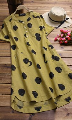 Gracila brand from NEWCHIC. Irregular Polka Dot Print Short Sleeve O-neck Vintage Dresses.