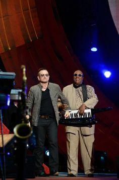 Bono and Stevie Wonder at Global Citizen Festival in New York City on September 2013 Sir Duke, Global Citizen Festival, Paul Hewson, Irish Rock, Bono U2, Looking For People, September 28, Stevie Wonder, Living Legends