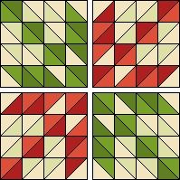To make this Scrappy Arrowheads quilt choose an assortment of lights for background, greens and reds. Use the half square triangle calculato...