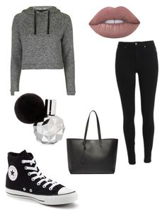 """Going to ...."" by larissa-bens on Polyvore featuring mode, Topshop, Converse, Lime Crime en Yves Saint Laurent"