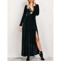 High Slit Long Sleeve A-Line Dress