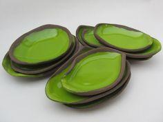 "art - design - ceramics by Saskia Lauth - ""Chocolate-Pistachio"" series 2015, brown clay, apple green glaze - www.saskia-lauth.com"