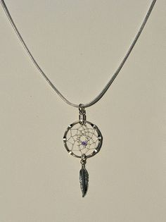 Small Dreamcatcher Silver Necklace with Purple by OriginalsByCathy, $10.00